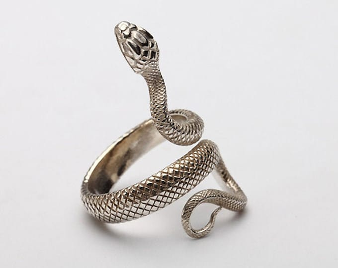Sterling Silver Snake Ring   Stylish Viper Serpent Adjustable Ring   Snake Jewelry For Men and Women   Snake Pinky Ring Viper   Animal Ring