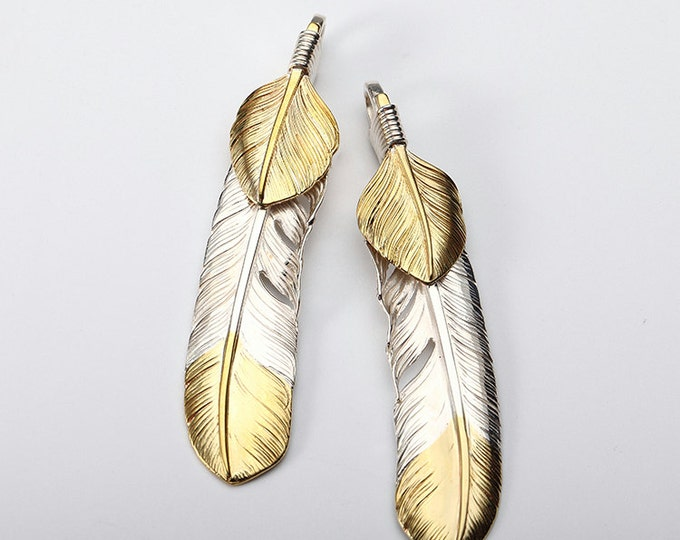 Silver Feather Pendant | Native American Inspired | Double Feather Charm | Gold Feather Jewelry | Brass Feather Charm | Bald Eagle Feather