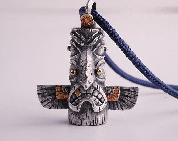 Mens Totem Pendant Silver Tribal Jewelry | Silver Totem Jewelry | Silver Pillar Pendant Rotatable |Men Gold Pendant Clan Thunderbird Pendant