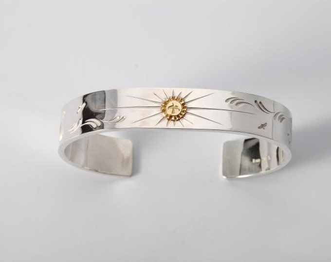 Engraved Silver Bracelet | Gold Charm Bracelet | Native American Inspired | Flying Bird Bracelet | Cuff Silver Bracelet | 18K Gold Charm