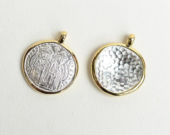 Greek Coin Pendant | Silver Gold Charm | Ancient Coin Pendant | Replica Coin Pendant | Women Coin Jewelry | Silver Coin Charm | Drachma Coin