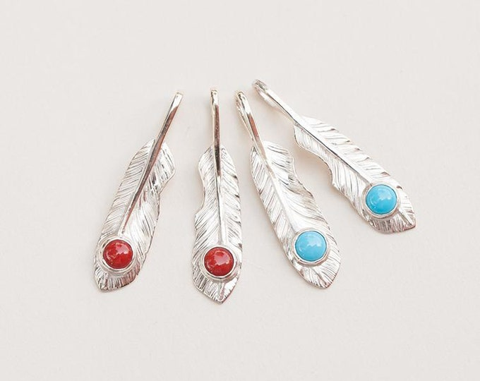 Silver Feather Pendant | Native American Inspired | Small Feather Charm | Boho Silver Pendant | Turquoise | Red Coral | 925 Sterling Silver