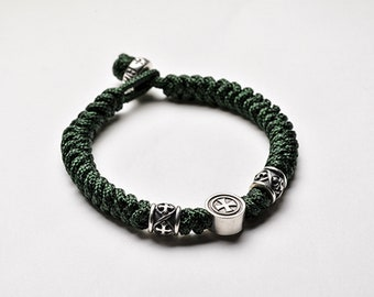 Braided Nylon Charm Bracelet Mens | Green Bracelet Braided | Military Bracelet Paracord | Silver Beads Bracelet Cross Charm |Prayer Bracelet