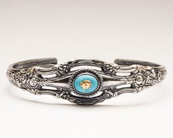 Spoon Cuff Bracelet | Silver Spoon Bangle | Silverware Bracelet | Open Cuff Bangle | Spoon Jewelry | Silver Floral Bangle | Cutlery Bracelet