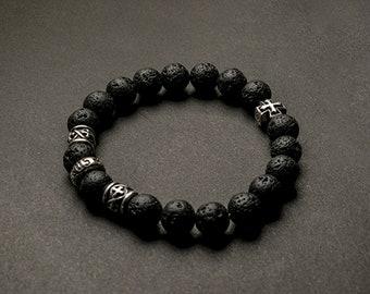 Genuine Lava Basalt Bracelet | Silver Beads Bracelet Black | Lava Bracelet Stone | Silver Cross Charm Bracelet |Volcanic Rock Bracelet Women
