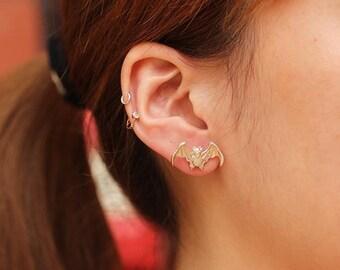 Silver Bat Earring | Halloween Earring | Gothic Bat Earring | Sterling Silver Bat | Vampire Earring | Bat Studs Earring | Flying Bat Earring