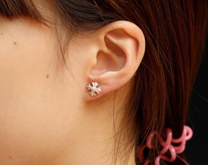 Silver Cross Earring   Fleur De Lis Studs   Lily Studs   Maltese Cross Earring   Floral Stud Earrings   Cross Post Earrings   Gift For Her