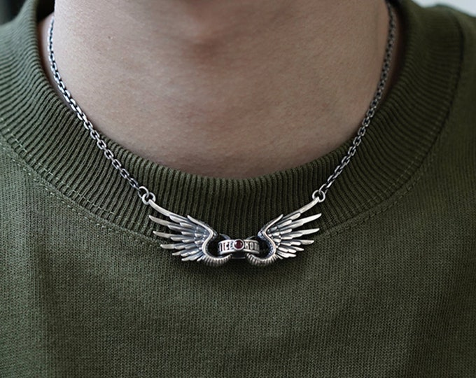 Men Angel Wings Necklace Silver | Silver Wings Eagle Necklace | Angel Necklace Mens | Black Onyx Ruby Sapphire Gemstone Necklace Protection