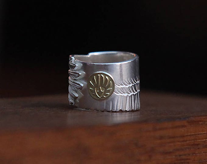 Silver Eagle Ring | Men Feather Ring | 18K Gold Eagle | Eagle Feather Ring | Eagle Jewelry |Bird Ring |Mens Ring Personalized |Two Tong Ring