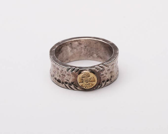 Gold Thunderbird Ring | Rustic Silver Band | Hammered Silver Band | Textured Ring | Silver Gold Band | Mens Thumb Ring |Oxidized Silver Band