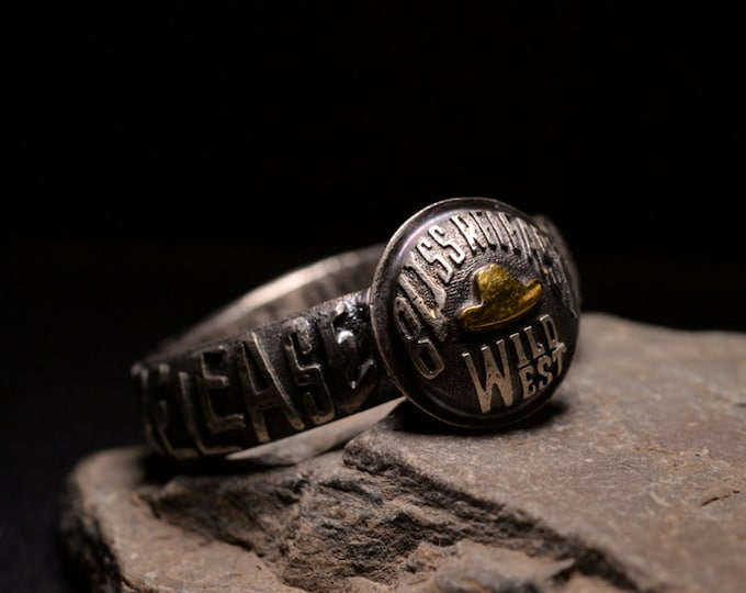 Silver Western Ring Cowboy Jewelry | Oxidized Silver Cowboy Ring Couple Engraving Ring | Silver and Gold Cowboy Ring | Letter Inscribed Ring
