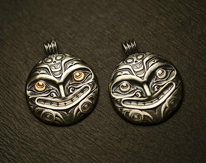 Sterling Silver Pendant | Silver Sun Pendant Peruvian Jewelry | Inca Symbol Pendant Two Tone | Inca Pendant Tribal Jewelry |Sun Face Pendant