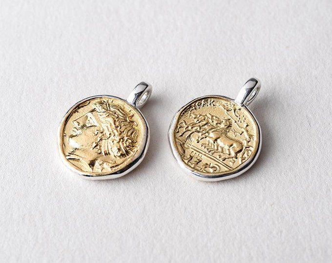 Ancient Coin Pendant | Silver Gold Charm | 24K Gold Plated Pendant | Greek Coin Pendant | Vintage Coin Charm | Replica Coin Pendant For Her