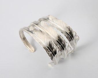 Silver Feather Bangle | Eagle Feather Bangle | Silver Cuff Bracelet | Tribal Bangle Adjustable | Open Silver Bangle | Personalized Bangle