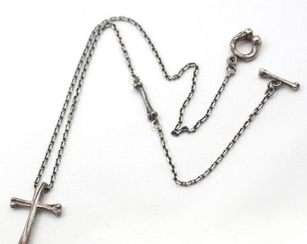 Goth Necklace | Silver Cross Pendant | Gothic Cross Necklace | Cross Jewelry | Silver Bone Necklace | Oxidized Silver Necklace Christian
