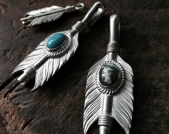 Silver Arrow Pendant   Native American Inspired   Arrow Charm   Turquoise Pendant   Ocean Onyx Charm   Gemstone Silver Pendant  Gift for Her