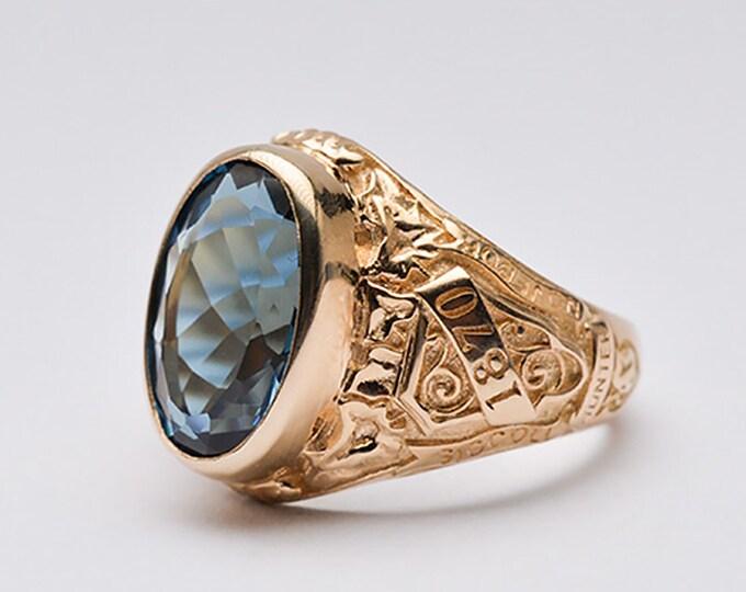 Gold Blue Topaz Rings For Women   18K Yellow Gold Ring Women  Solid Gold Ring 18K Gold Ring Gemstone  Belle Epoque Ring  December Birthstone
