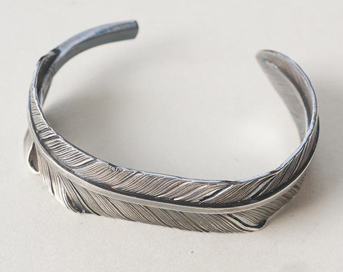 Silver Feather Bangle | Native American Inspired | Silver Feather Bracelet | Personalized Bracelet | Feather Cuff Bracelet | Feather Jewelry