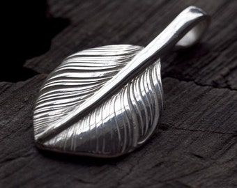 Silver Feather Pendant | Native American Inspired | Feather Jewelry | Small Feather Charm | Sterling Silver Palm Leaf | Palm Leaf Pendant