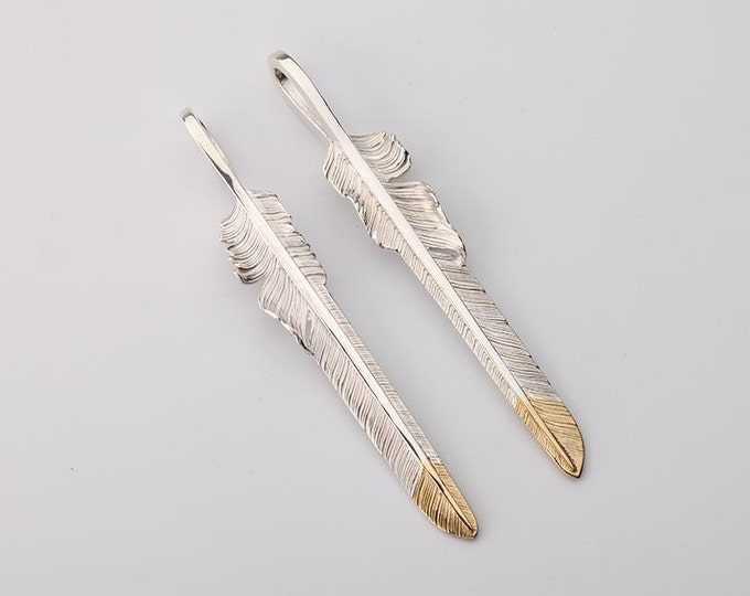 Sterling Silver Feather Pendant | Native American Inspired | Feather Jewelry | Tribal Feather Necklace | Silver and 18K Gold Feather Pendant