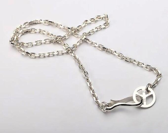 Peace Sign Necklace | Silver Peace Sign | Peace Sign Pendant | Simple Silver Chain | Plain Silver Chain | Sterling Silver Chain Necklace