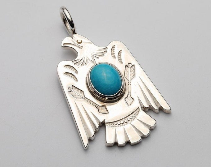Silver Eagle Pendant | Native American Inspired | Silver Bird Charm | Flying Bird Pendant | 925 Silver Eagle Charm | 18K Gold Charm Gemstone