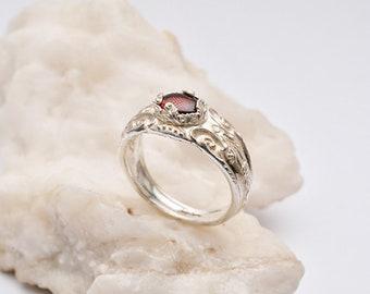 Silver Spoon Ring | Garnet Ring Gemstone | Floral Ring Silver | Silverware Ring | Silver Vintage Ring Women Dainty Ring | Silverware Jewelry