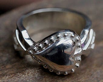 Silver Heart Ring | Silver Love Ring | Heart Couple Ring | Heart Jewelry | Valentines Gift For Him | Gambling Ring | Gambling Jewelry Casino