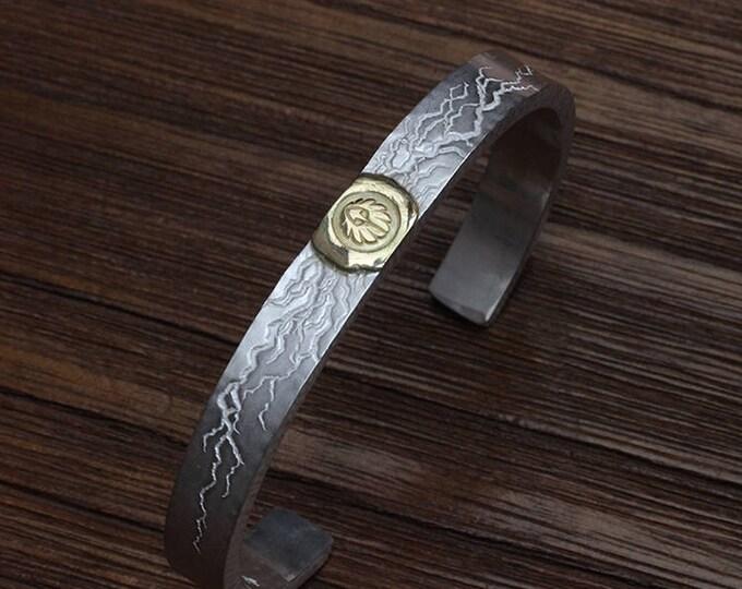 Silver Thunder Bracelet | Thunderbird Bangle | 18K Gold Eagle | Two Tone Bracelet | Hammered Bangle | Lightening Bolt Bracelet | Mens Bangle