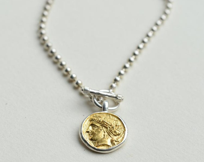 Ancient Coin Necklace | Greek Coin Necklace | Coin Jewelry | Silver Coin Pendant | Gold Charm Pendant | 24K Gold Plated Charm | Silver Coin