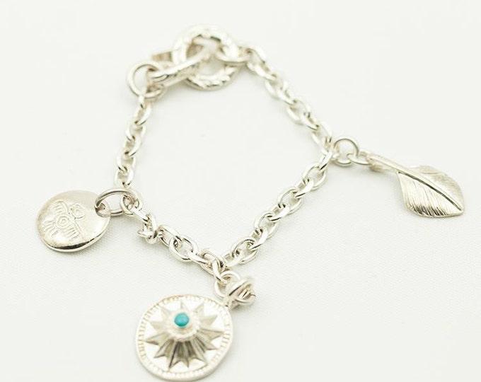 Silver Charm Bracelet Women | Silver Sun Charm | Chain Link Bracelet | Silver Feather Charm | Thunderbird Bracelet |Chunky Bracelet Bohemian