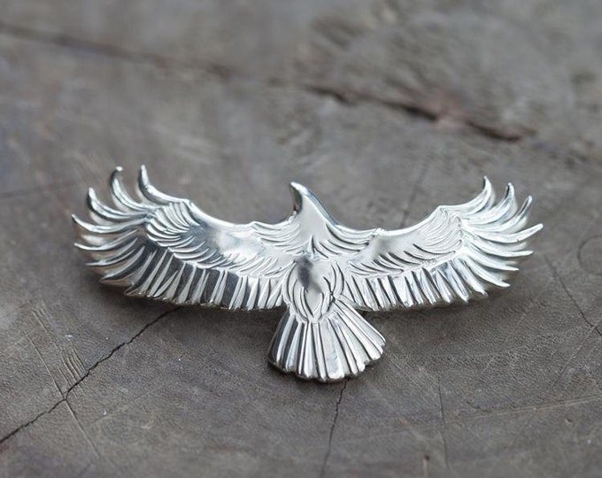 Silver Eagle Pendant | Native American Inspired | Silver Eagle Necklace | Flying Bird Pendant | Silver Eagle Charm | Oxidized Silver Pendant