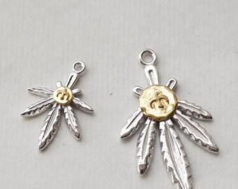 Silver Leaf Pendant | Hemp Leaf Charm | Marijuana Pendant | Marijuana Leaf Charm | Silver Gold Charm | Flying Bird Charm | Turquoise Charm