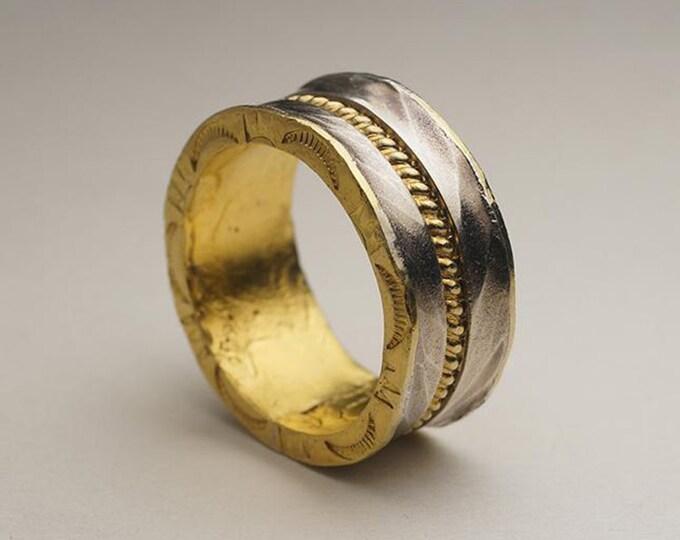 sterling silver skyline ring, 24k gold ring men, unique wedding band men, mens engagement ring gold, nature lover gift for men hammered ring