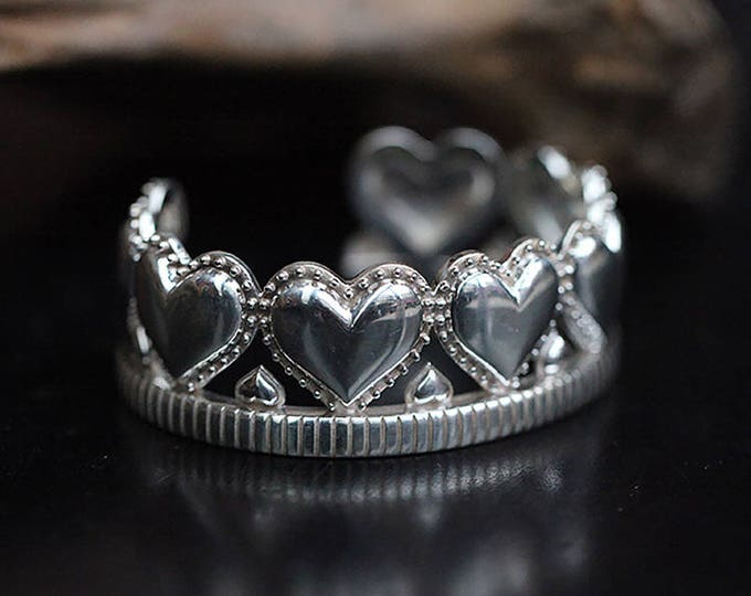 Silver Crown Bracelet |Crown Bangle |Silver Heart Bangle |Statement Bracelet |Queen Bracelet Princess |Crown Jewelry Heart |Gambling Jewelry