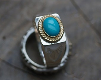 Gemstone Signet Ring | Native American Inspired | Turquoise Silver Ring | Square Ring | Silver Gold Ring | Silver Engraved Ring |Tribal Ring