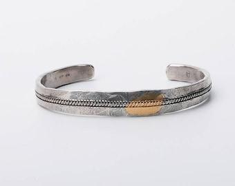 Men Silver Bangle | Silver Men Bracelet | 24K Gold Inlay Bangle | Cable Bracelet Bangle |Oxidized Silver Bracelet |Tribal Silver Bangle Cuff