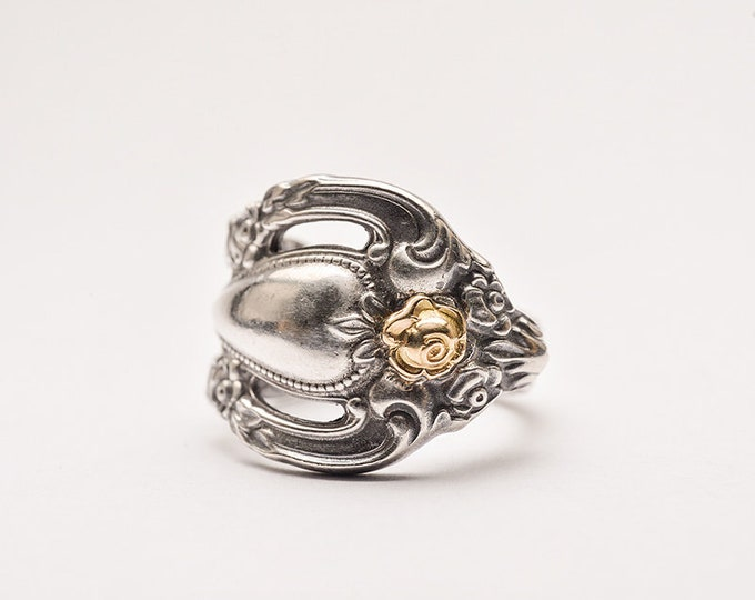 Silver Spoon Ring | Floral Silver Ring | Gold Rose Ring | Silver Flower Ring | Silverware Ring | Engraved Silver Ring | Silver and Gold Ring