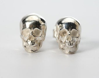 Silver Skull Earring | Halloween Earrings | Gothic Earring | Human Skull Earring | Silver Skull Studs | Punk Stud Earring | Gift for Her