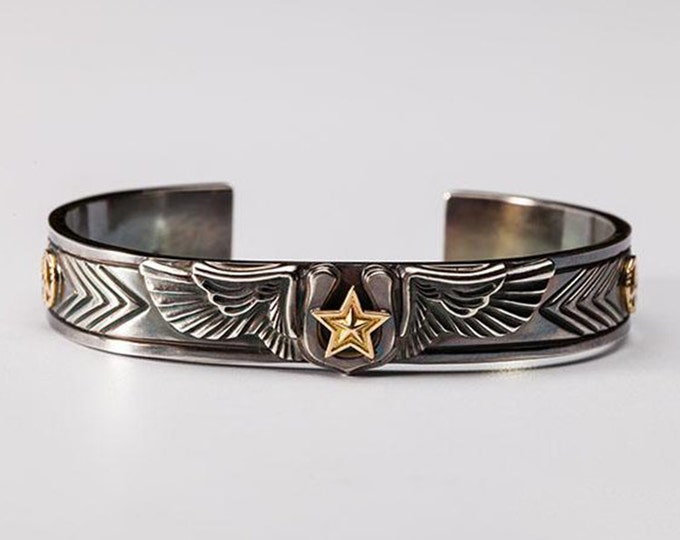 Silver Wing Bangle | Angel Wing Bracelet | Gold Star Bangle | Lucky Bracelet | Horseshoe Bangle | Peace Sign Bracelet | Engraved Cuff Bangle