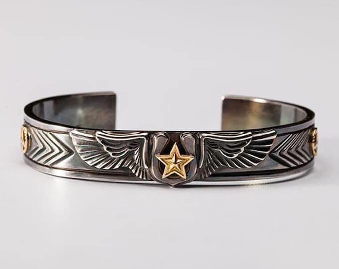 Silver Wing Bangle | Angel Wing Bracelet | Gold Star Bangle | Lucky Bracelet | Horseshoe Bangle | Peace Sign Bracelet | Engraved Cuff Bangle
