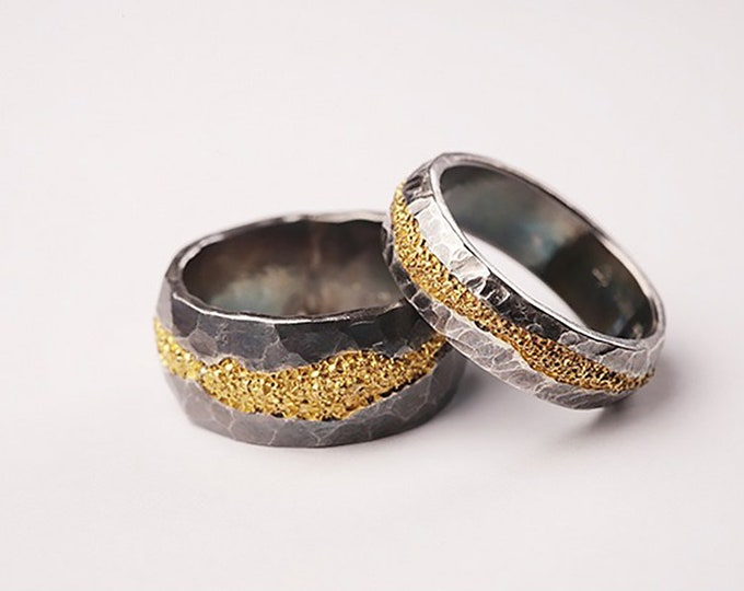 Silver Band Two Tone Ring | Silver and Gold Ring | Hammered Ring Mens Oxidized Couple Ring | Rustic Wedding Band | Solid Yellow Gold Ring