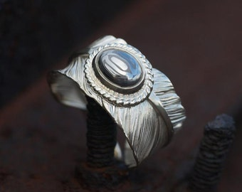 Silver Feather Ring   Feather Wrap Ring   Damascus Steel Ring   Ethnic Silver Ring   Silver Wrap Ring   Unisex Gemstone Ring   Bohemian Ring