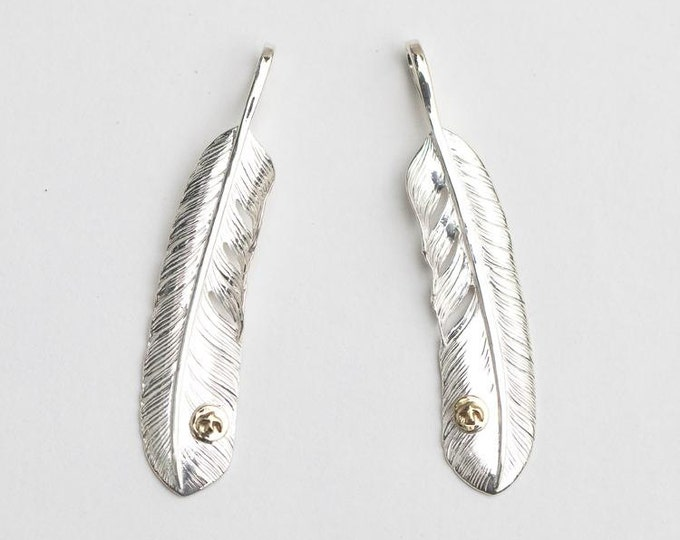 Sterling Silver Feather Pendant | Native American Inspired | Feather Jewelry | Eagle Feather Charm | Flying Bird Charm | Rose Flower Charm