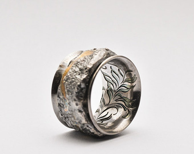 Silver Rustic Ring Mens | Silver Gold Ring Men Silver Band Wide | Silver Statement Ring | Two Tone Ring | Floral Engraving Ring AU999 Gold