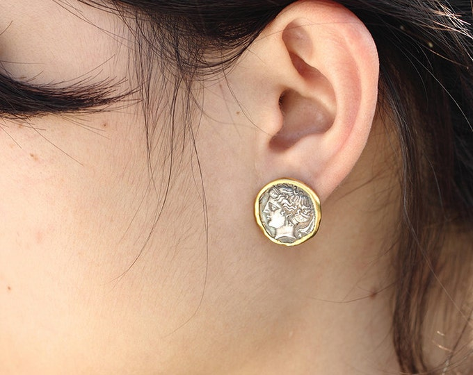 Ancient Coin Earring | Coin Stud Earring | Two Tone Studs | Silver Coin Earrings | Silver Gold Studs | 24K Gold Plated Earrings |Large Studs