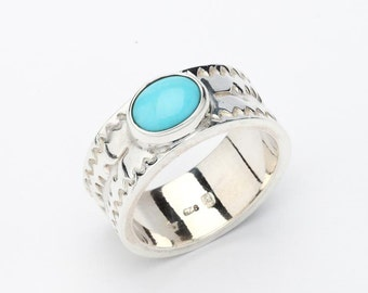 Engraved Silver Band   December Ring   Oxidized Silver Band   Personalized Ring   Blue Gemstone Band   Ethnic Silver Ring   Turquoise Ring