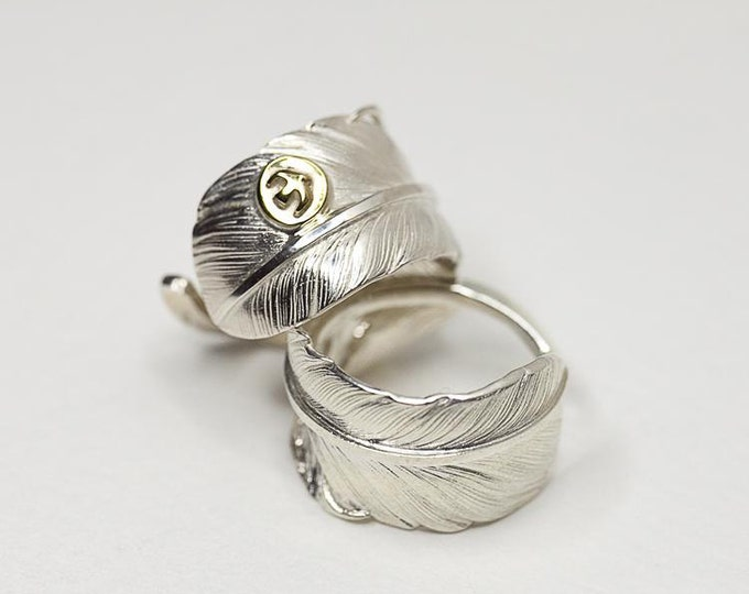 Silver Feather Ring | Feather Wrap Ring | Native American Inspired | Adjustable Ring | Gold Bird Ring | Thunderbird Ring | Wide Silver Ring
