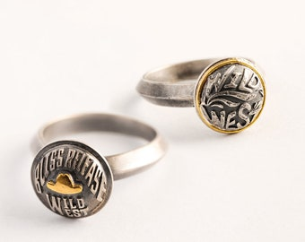 Silver Cowgirl Ring Yellow Gold Cowboy Ring | Two Tone Jewelry | Silver Western Ring Wild Girl Jewelry | Women Boho Ring | Gold Cowboy Hat