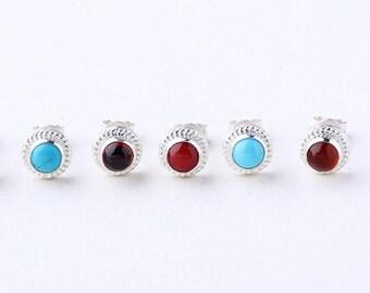 Silver Stud Earring | Gemstone Studs | Gemstone Post Earring | Turquoise Studs | Red Garnet Studs | Red Coral Stud | Birthstone Stud Earring